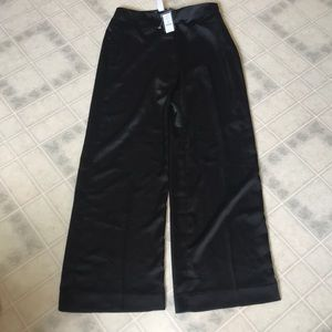 WHBM black satin wide leg Flat Front Pants